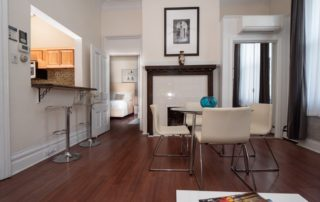 Living Room with fireplace in Shadyside apartment S2
